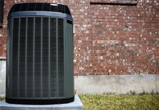 Black air conditioner outer unit